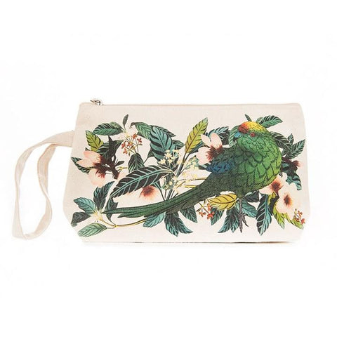 Flox Small Cotton Pouch with Wristlet Kakariki