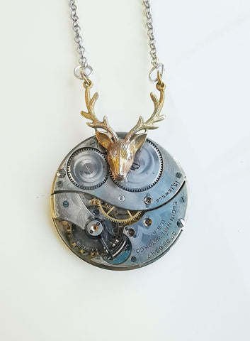 Large Silver Pendant With Bronze Stag's Head