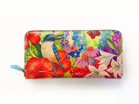 Kingfisher Hibiscus Leather Long Wallet