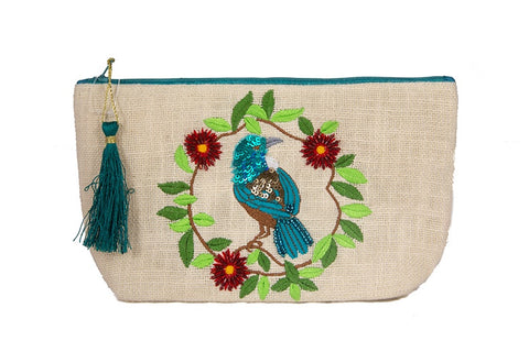 Cosmetic Bag - Tui with Wreath on Textured Cotton