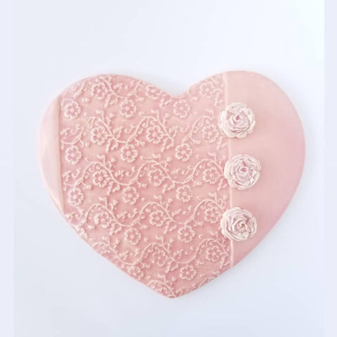 Handmade Heart Pink with Roses Extra Large