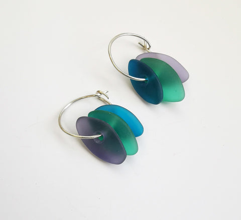 Glass Earrings – Drop beads on ring (Purple Shades)