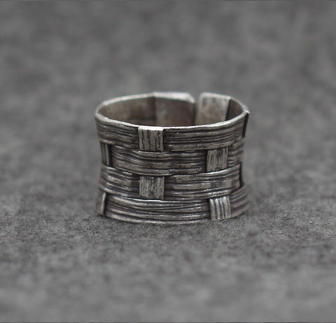 Flax Weave Silver Ring - Open End