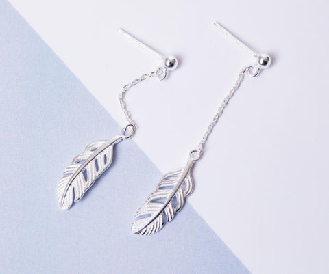Sterling Silver Earrings - Dangly Feather
