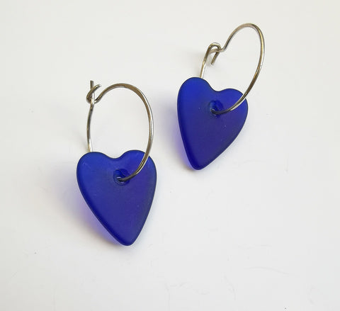 Glass Earrings – Heart (Cobalt Blue)