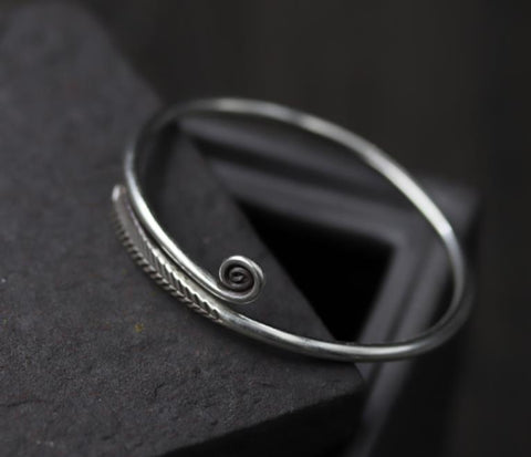 Sterling Silver Bangle - Koru Feather