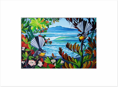 Mattboard - Rangitoto & Fantails