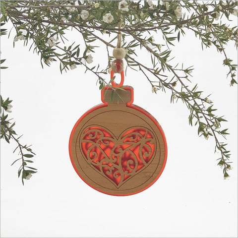 Bauble Hanging Ornaments - Heart Red Satin Acrylic