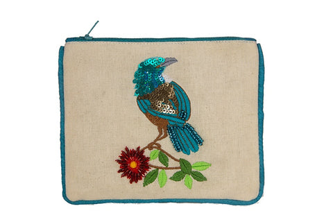 Small Pouch - Tui with Wreath on Textured Cotton