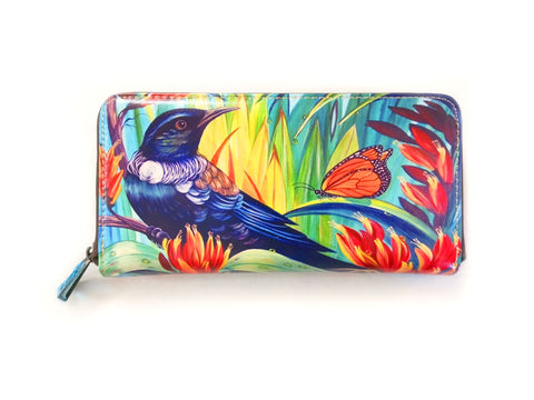 Enchanted Tui Leather Long Wallet