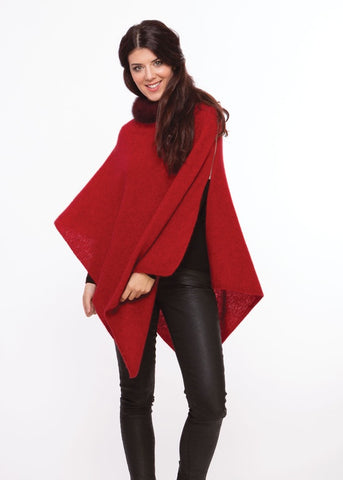 Merino Possum Fur trim zip poncho