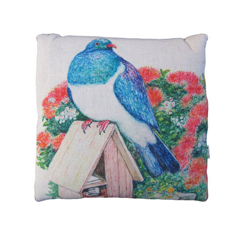 CUSHION BLANKET - Wood Pigeon & Mailbox