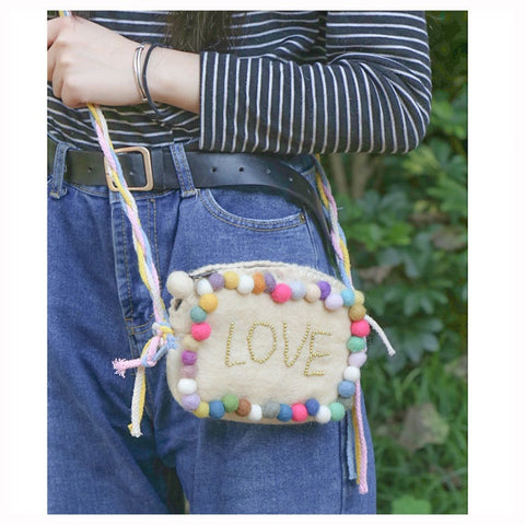 Small Wool Felt Shoulder Bag Love Cream