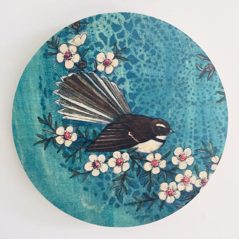 Blue Fantail - Plywood Wall Art