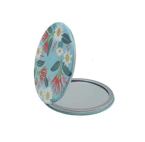Flowers On Aqua - Cosmetic Mirror
