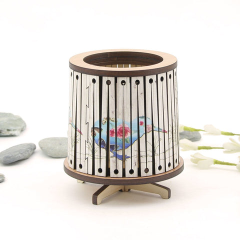 Round LED Tealight Holder - Floral Kiwi