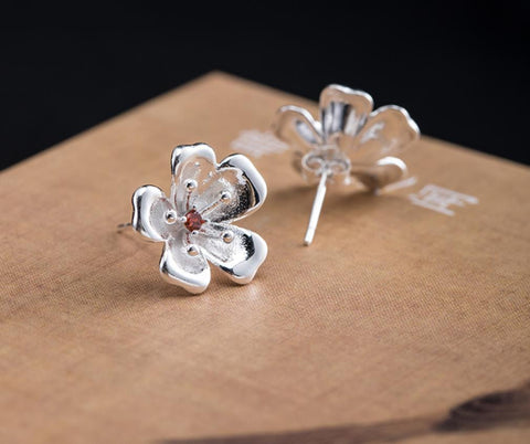 Sterling Silver Earrings - Manuka Flower with Red Stamen