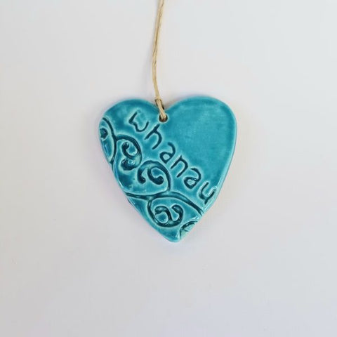 NZ Made Ceramic Imprint Heart Whanau