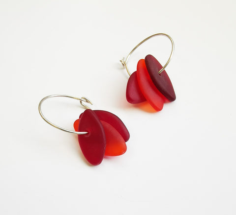 Glass Earrings – Drop beads on ring (Red Shades)