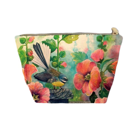 Cosmetic Bag -Fantail Hollyhocks
