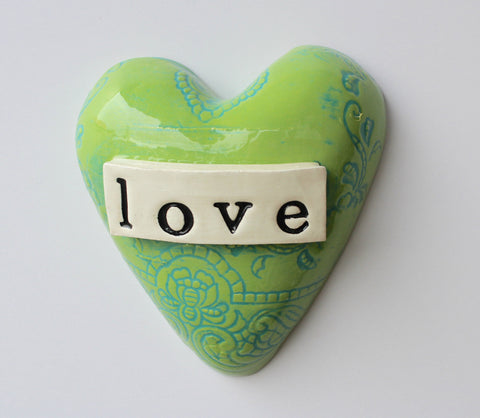 Green Ceramic Love Heart