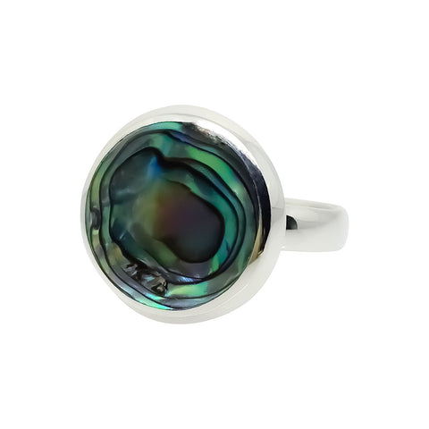 Ring - MED Button Round Paua