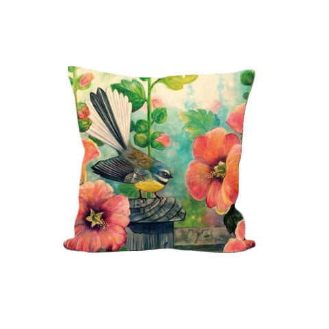 Cushion Cover - Fantail Hollyhocks