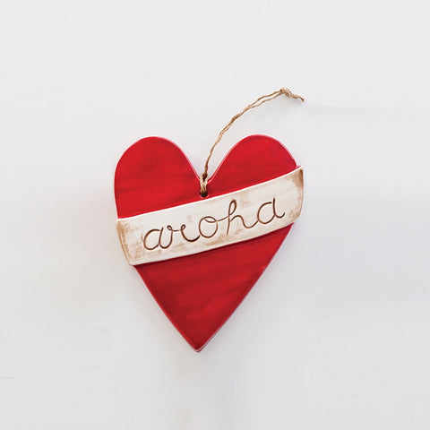 Large Ceramic Aroha Heart Red
