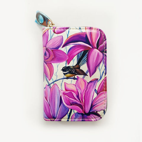 Fantail with Irises Leather Cardholder