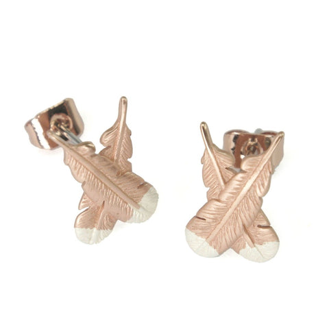 Rose Gold Huia Feather Earrings