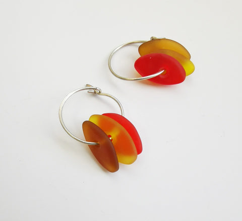 Glass Earrings – Drop beads on ring (Amber Shades)