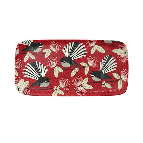 Bamboo Tray Flirting Fantail Red
