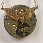 Large Silver Pendant With Bronze Moth