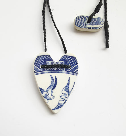 Recycled China Pendant – heart design