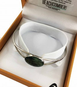 Greenstone Bangle Oval Silver Boxed
