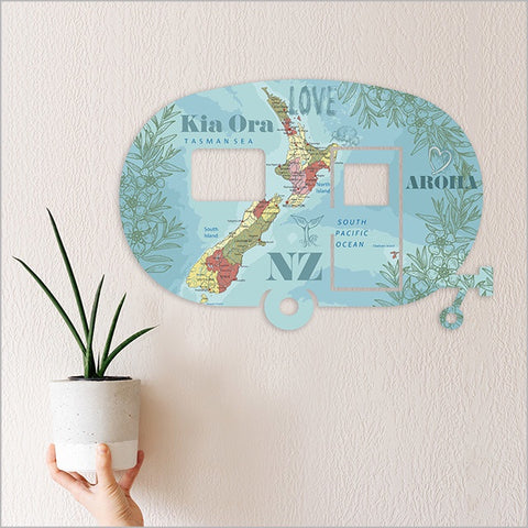Kiwiana Wall Art - Caravan NZ Map