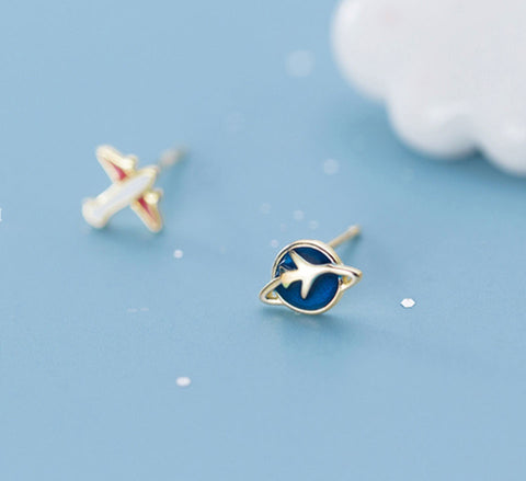 Sterling Silver Fly Me To The Moon Studs