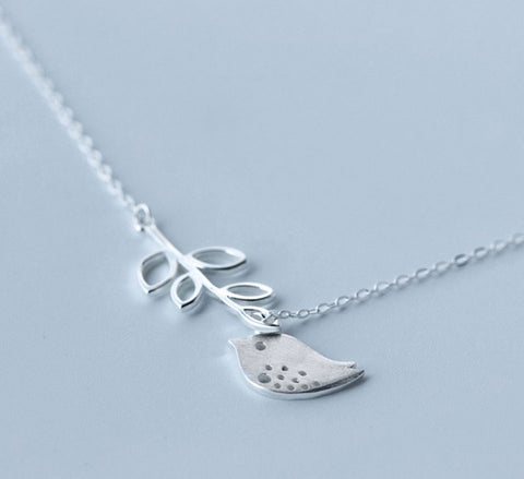 Bird & Branch Necklace - Sterling Silver