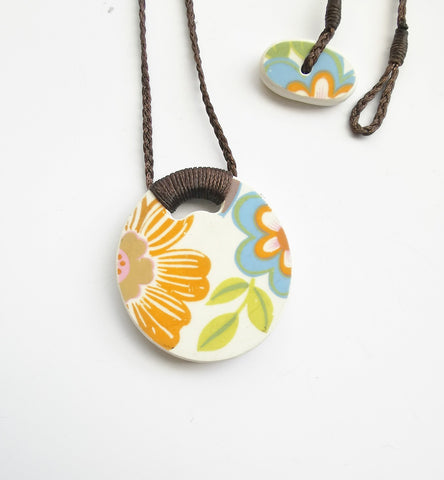 Recycled China Pendant – Orange Blue Floral