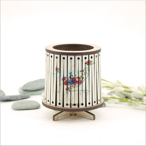 Round LED Tealight Holder - Floral Pukeko