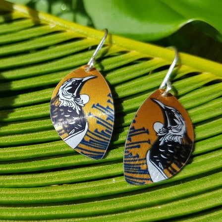 Aluminium Native Tui Earrings Silver Hook
