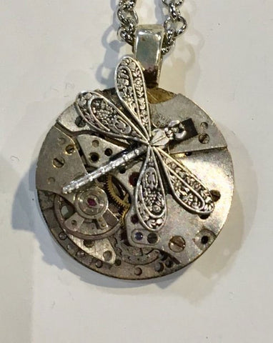 Timepiece Petite Silver Pendant with Dragonfly