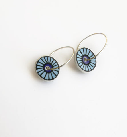Recycled China Earrings – Disc shape Blue