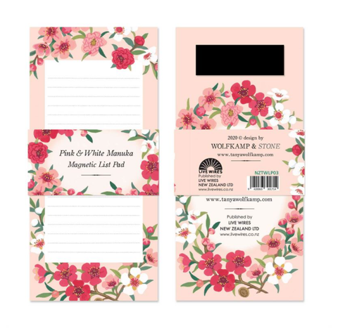Pink & White Manuka - Magnetic List Pad