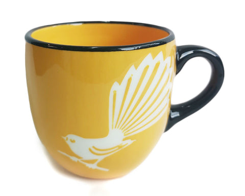 Yellow Fantail  Mug Painted Pacific Pottery