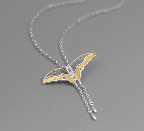 Flying Butterfly Necklace - Sterling Silver