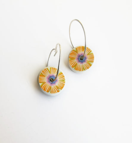 Recycled China Earrings – Disc shape Orange Floral