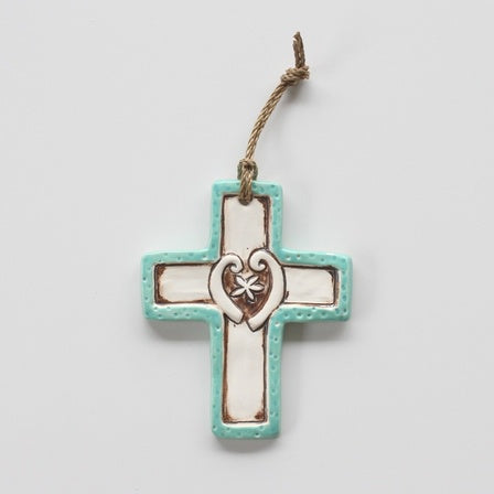 Ceramic Cross With Fern Fronds Mint
