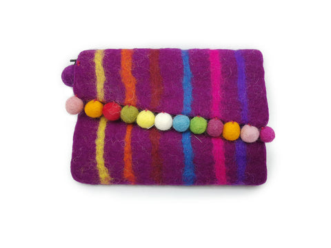 Wool Felt Purse - Purple