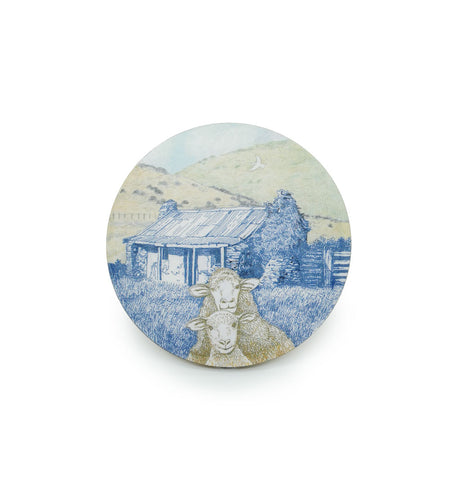 Coaster - Vintage Sheep Round